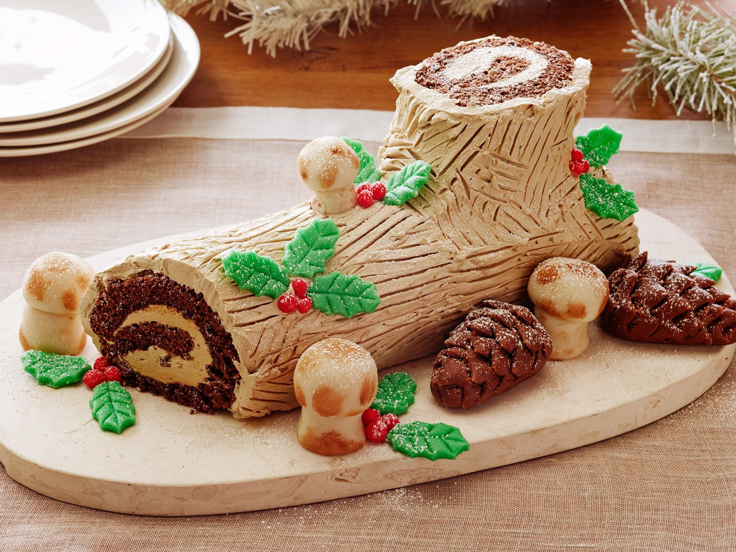 BUCHE DE NOEL Food Network Eggs, Sugar, Unsalted Butter, Instant Espresso, Rum, Chocolate Genoise Sheet, Almond Paste, Confectioners' Sugar, Light Corn Syrup, Egg Yolks, Salt, Cake Flour, Cornstarch, Alkalized Cocoa