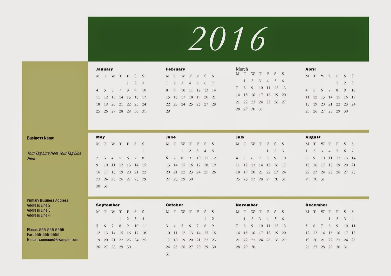 Calendar 2016 - Free Download Vector PDF JPG - Design_07_Bars