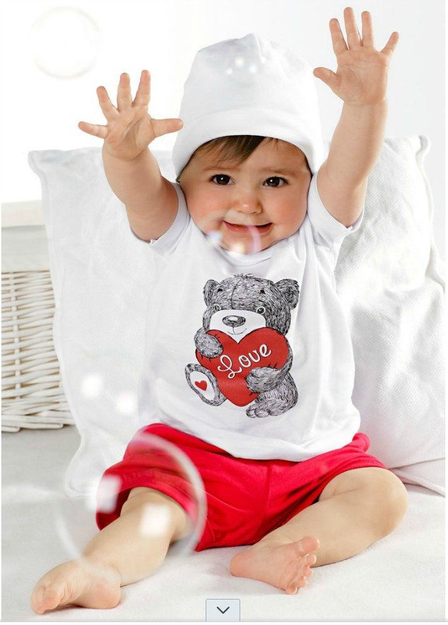 Retail-Hot-Sale-Summer-suits-Child-Baby-Boys-and-Girls-love-bear-set-short-sleeve-Red
