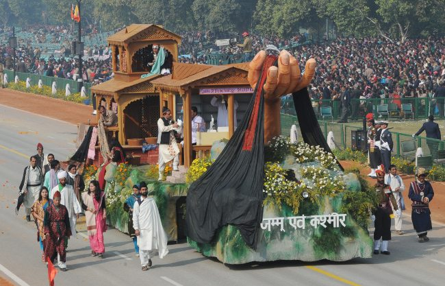 The tableau of Jammu & Kashmir on the theme 'Pashmina: Linking Tradition with Technology' passes through the Rajpath during the full dress rehearsal for the Republic Day Parade-2013, in New Delhi on January 23, 2013.