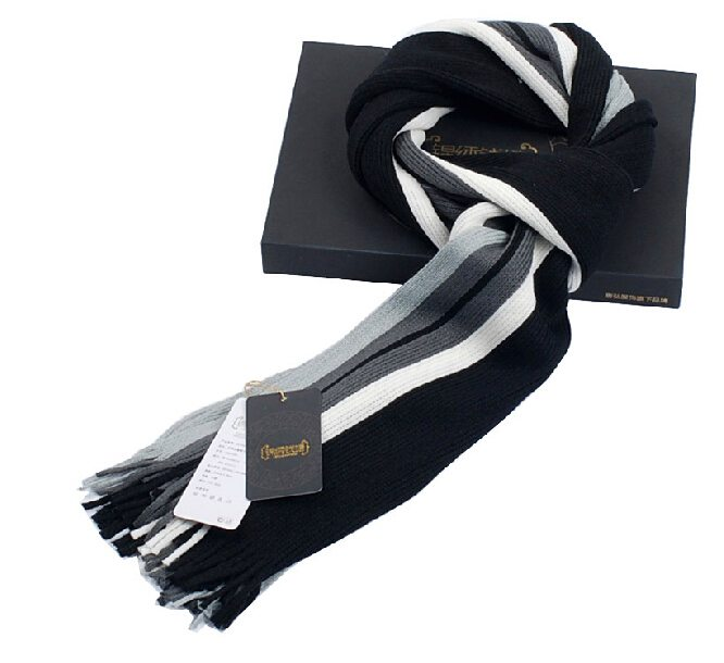 Autumn-Winter-Fashion-Top-Grade-Classic-Striped-Woolen-Scarf-Macrochaeta-Thickness-Black-White-Gray-Scarves-Gift