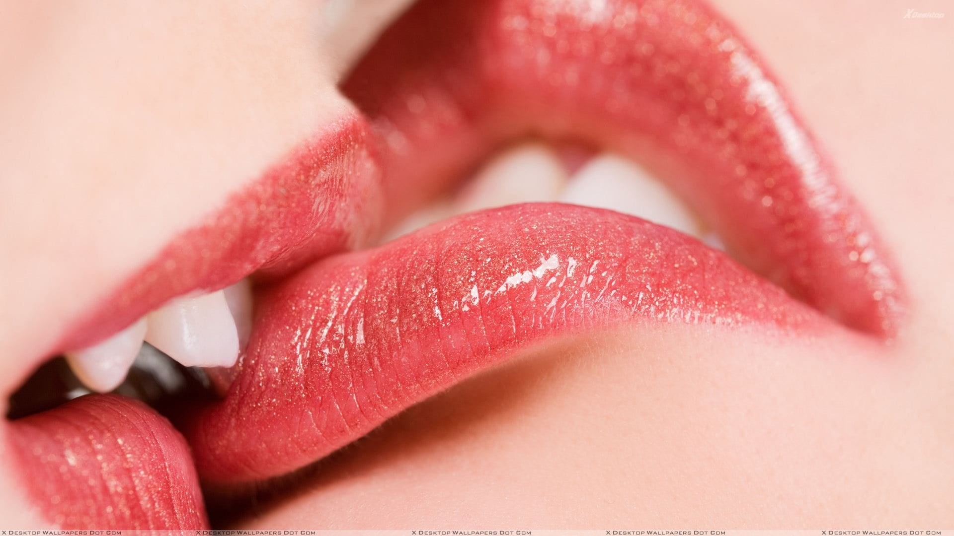 Kissing Glossy Red Lips Closeup
