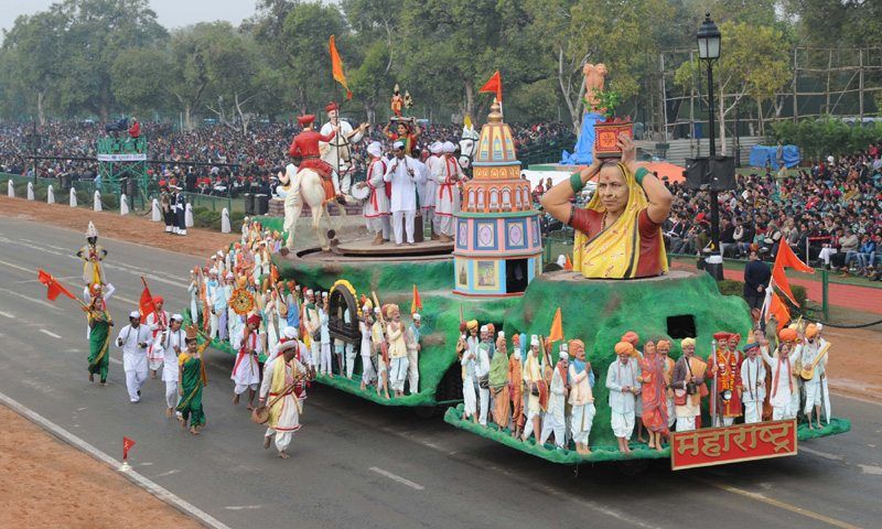 The tableau of Maharashtra passes through the Rajpath during the full dress rehearsal for the Republic Day Parade-2015, in New Delhi on January 23, 2015.