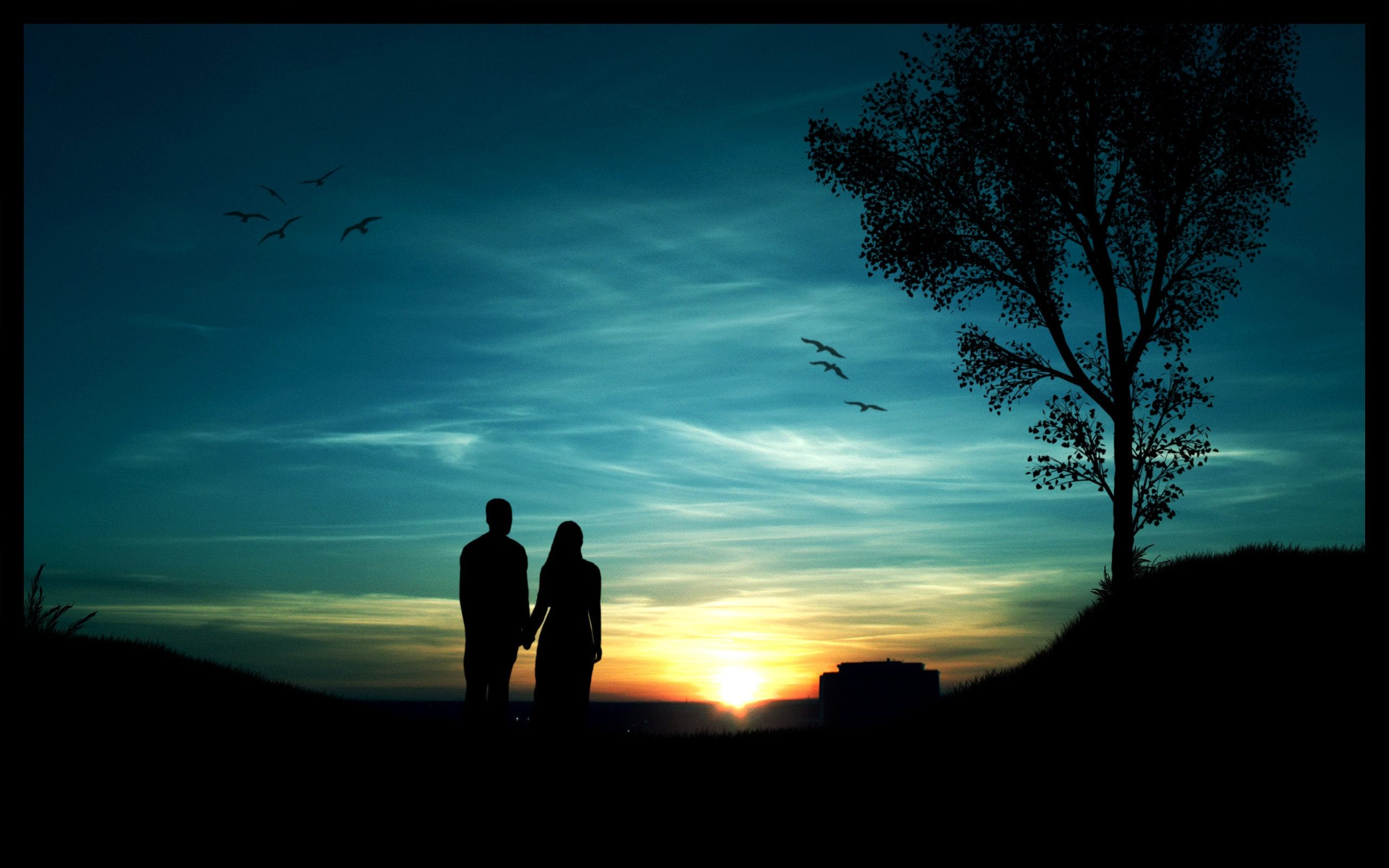 two-lovers-cute-couple-evening-wallpaper