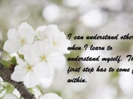 I can understand others when I learn to understand myself the first step has to come from within